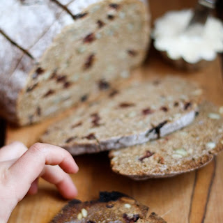 Rye Toasting Bread with Dried Cherries & Pumpkin Seeds
