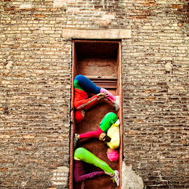 Bodies in Urban Locations by Francisco Castro - People Musicians & Entertainers ( doorway, dancers, color, acrobat, street )