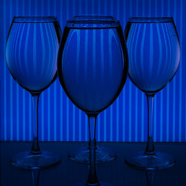 Behind Blue Lines by Jun Sigue - Artistic Objects Glass ( reflection, glasses, blue, art, dark, artistic, glass, reflections, low light, night, artistic objects )