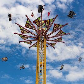twirling free by Kimberly Mehrer - City,  Street & Park  Amusement Parks ( sky, park, blue, fly, fun, fair, sun )