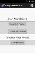 Screenshot of Preop Risk Assessment