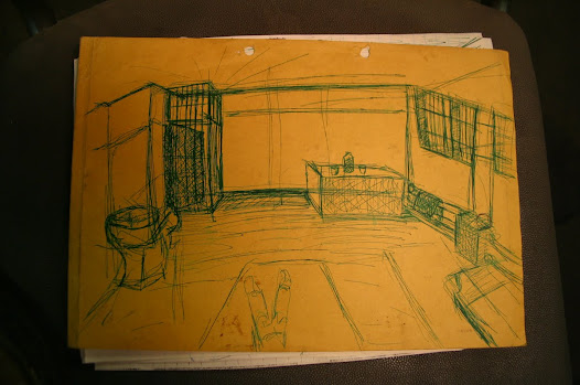 Prison cell in green ink, drawn by Catherine Hunter whilst in detention