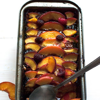 Raspberry Peach Clafoutis with Burnt Sugar Crust