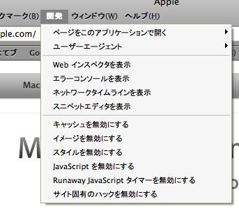 Windows版Safari 3.1の開発ツールは便利そうだ