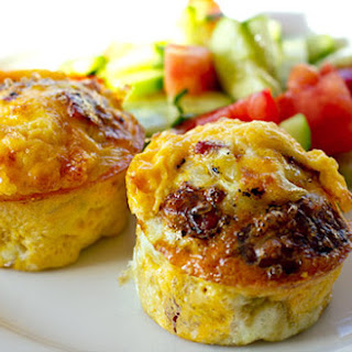 Egg Muffins with Onion, Salami & Halloumi