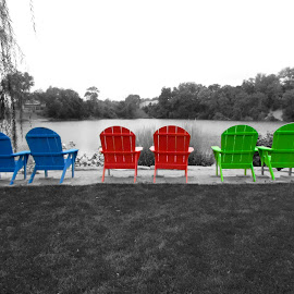Colored chairs by Jim Wheelock - Artistic Objects Furniture ( chairs, color, art, parks, photography )