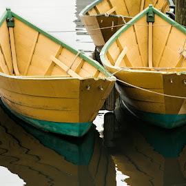 3 Dories by David Stone - Transportation Boats ( water, dories, dory, gloucester, boats, reflections, rowboats, harbor scene, dock )