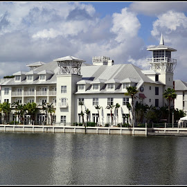 Hotel in Celebration FL by Phil Grierson - Buildings & Architecture Office Buildings & Hotels ( clouds, water, building, fl, lake, hotel )