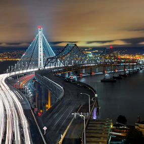 San Francisco-Oakland Bay Bridge by Jerome Obille - Buildings & Architecture Bridges & Suspended Structures ( night photography, jobille, oakland, light trails, long exposure, bay bridge, oakland bay bridge, freeway, san francisco )