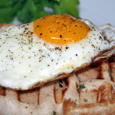 Grilled Cheese and Ham Waffles