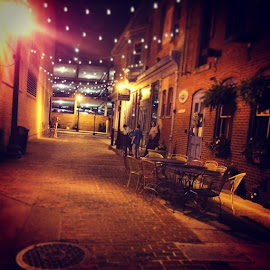 Beautiful alleyway shot tonight inby the by Julie Dabour - City,  Street & Park  Street Scenes ( Easton, pennsylvania, bankstannex, sopretty, beautiful, colors, romantic, classy, nightlights )