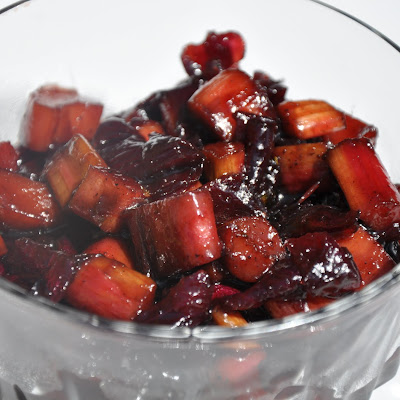Rhubarb and Onion Confit with Strawberry Balsamic Vinegar