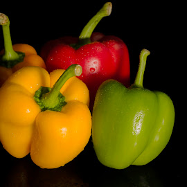 United Colors of Capsicum by Marlou Solleza - Food & Drink Fruits & Vegetables ( black background, orange, red, green, capsicum, vegetables, multi-color, yellow )