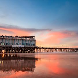 Sunset at Daytona Beach by Hien Nguyen - Landscapes Beaches ( florida, sunset, daytona beach, joe's crab shark florida, beach )