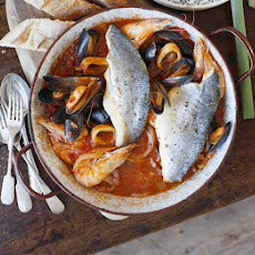 Sea bass & seafood Italian one-pot