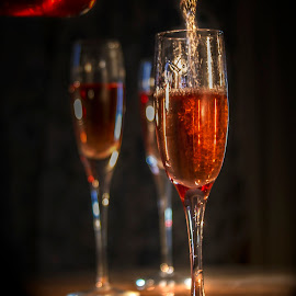 Fine Wine by Sandra Hilton Wagner - Food & Drink Alcohol & Drinks ( wine, bottle pouring, goblets, romance )