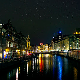 The lights of Amsterdam... by Avishek Patra - City,  Street & Park  Night ( night photography, stars, night, amsterdam, canal, netherlands, nightlife, nightscape )