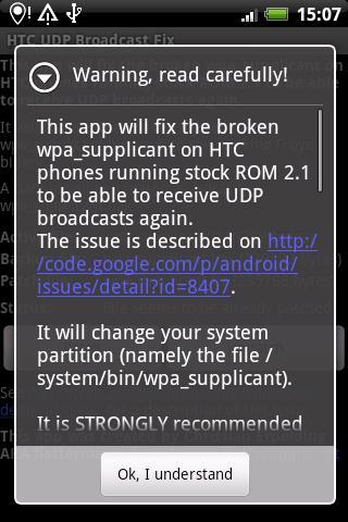 【免費生產應用App】HTC UDP Broadcast Fix-APP點子