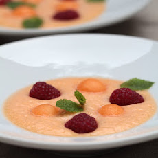 Cantaloupe Soup with Raspberries and Floc de Gascogne
