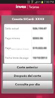 Screenshot of INVEX Tarjetas móvil