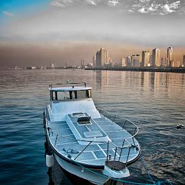 Docked at Manila Bay at Dawn by Erico Claudio - Transportation Boats ( dawn, manila bay, boat, philippines, nikon d90, ccp complex )