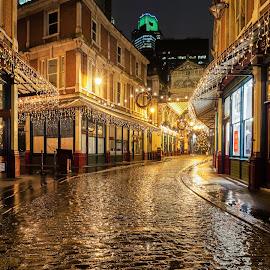 Leadenhall Market - London by George Johnson - City,  Street & Park  Markets & Shops ( market, london, xmas, rain, historic )