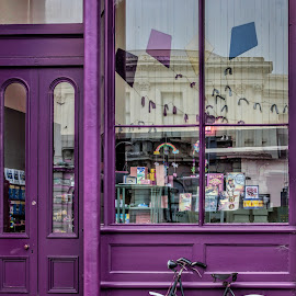 Purple shop by Vibeke Friis - Transportation Bicycles ( old, bike, shop window, antique,  )