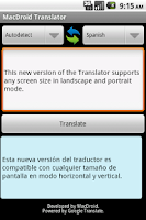 Screenshot of MacDroid Translator