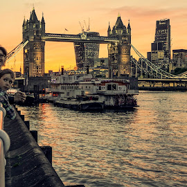 mother and son by Haddouchi Tarik - People Family ( england, uk, london, family, tower bridge )