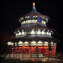 Temple of Heaven by Lisa Silva - City,  Street & Park  Amusement Parks ( walt disney world, world showcase, amusement park, wdw, florida, china pavilion, night, epcot, temple of heaven )