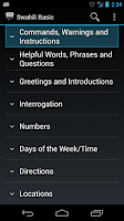 Screenshot of Swahili Basic Phrases