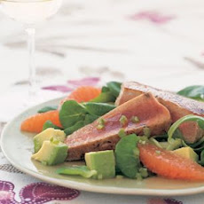 Seared Tuna with Mâche, Avocado and Grapefruit Salad