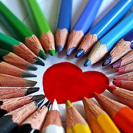 by Irina Mateescu - Artistic Objects Other Objects ( pencils colored rainbow heart love colorful,  )