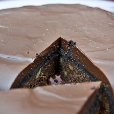 Upside-Down Three-Chocolate Brownie Pie