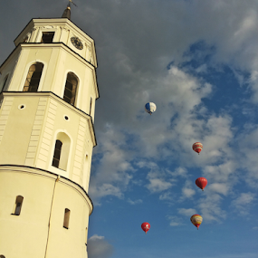 by Monika Norvaisaite - Novices Only Street & Candid ( vilnius, tower, blue sky, blue, autumn, old town, balloons, airshow )