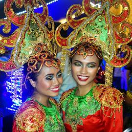 2 Malay Ladies, Street Performers by Alan Chew - People Street & Candids