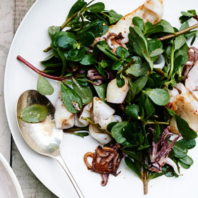 Pan-Seared Squid with Lemony Aioli and Greens