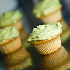 White Chocolate Matcha Mint Buttercream On Coconut Cupcakes