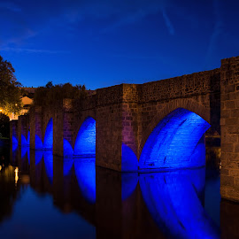 Blue hour, blue bridge by Sébastien Delbes - Buildings & Architecture Bridges & Suspended Structures ( blue, limoges, france, bridge, hour )