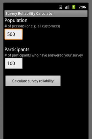 Survey Reliability Calculator