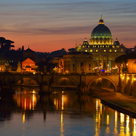 Sunset over St. Peter Basilica by Travis Pambu - City,  Street & Park  Vistas ( golden hour, sunset, sunrise,  )
