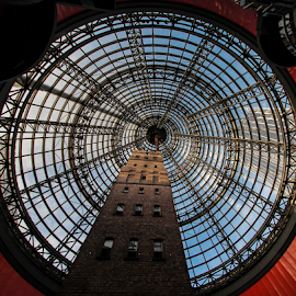 Melbourne's old shot tower by Howard Ferrier - Buildings & Architecture Public & Historical ( shopping mall, tower, atrium, skyscraper, melbourne, circle, chimney, shot tower, historical building )