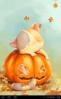 Screenshot of Pumpkin Kitten Live Wallpaper