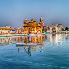 golden temple by Divnoor Buttar - Buildings & Architecture Places of Worship ( water, temple, sikh, darbarsahib, hdr, sikhism, boat, golden )