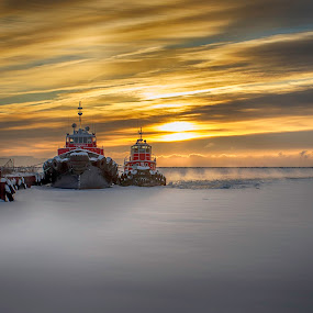 Waiting For Spring by Paul Imperius - Transportation Boats ( tugboat, canada, ice, ontario, thunder bay,  )
