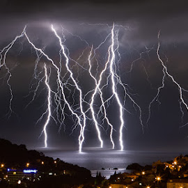 Lightning barrage by Boris Basic - Landscapes Weather ( lightning, bolt, weather, storm )