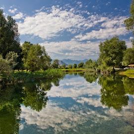 Karatuna River by Dejan Dajković - Landscapes Waterscapes ( water, clouds, reflection, sky, blue, trees, still, landscape, river )