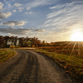 by Jill Beim - Landscapes Prairies, Meadows & Fields ( autumn, sunset, fall, road, color, colorful, nature,  )