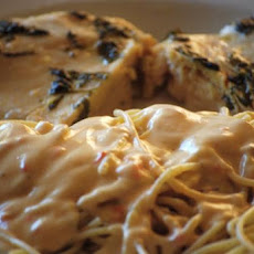 Garlic Basil Chicken With Red Roasted Pepper Alfredo Spaghetti