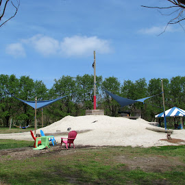 Playground by Maritza Féliz - City,  Street & Park  City Parks ( sand, playground, park, chairs, trees )